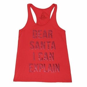 """Dear Santa I Can Explain"" Red Glitter Tank"